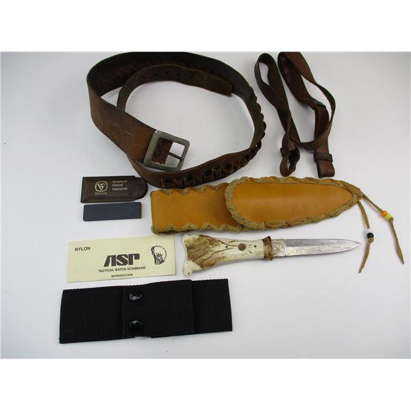 HUNTING STYLE KNIFE + LEATHER BELT & STRAP ETC