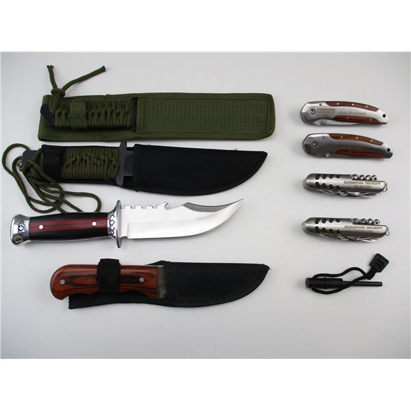 ASSORTED SURVIVAL & POCKET KNIVES