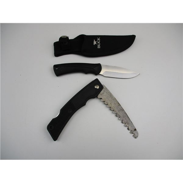 BUCK HUNTING KNIFE + FOLDING TRIMMING SAW