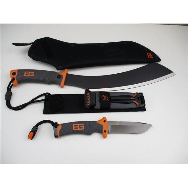 BEAR GRYILLS GERBER HUNTING KNIFE & MACHETE