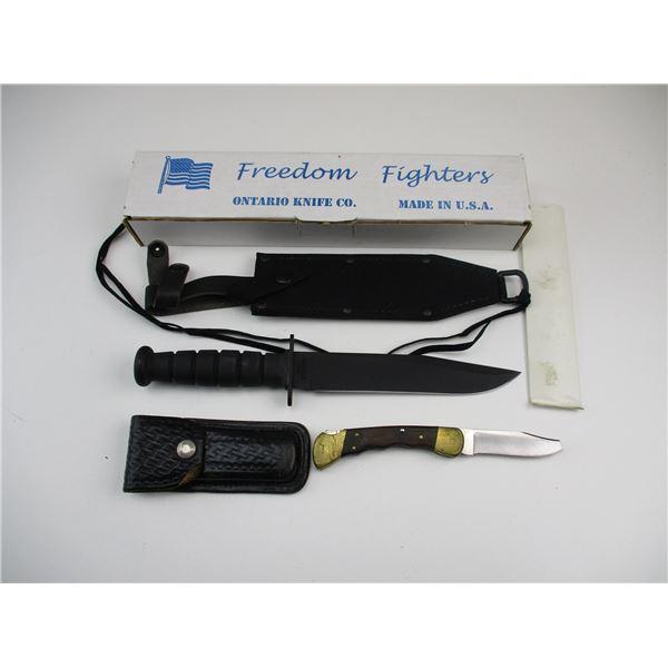 FREEDOM FIGHTERS SURVIVAL KNIFE + BUCK FOLDING KNIFE