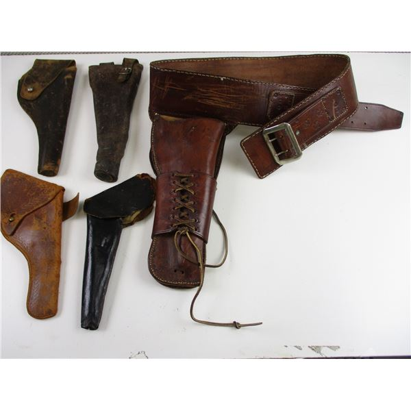 LEATHER BELT WITH HOLSTER ETC