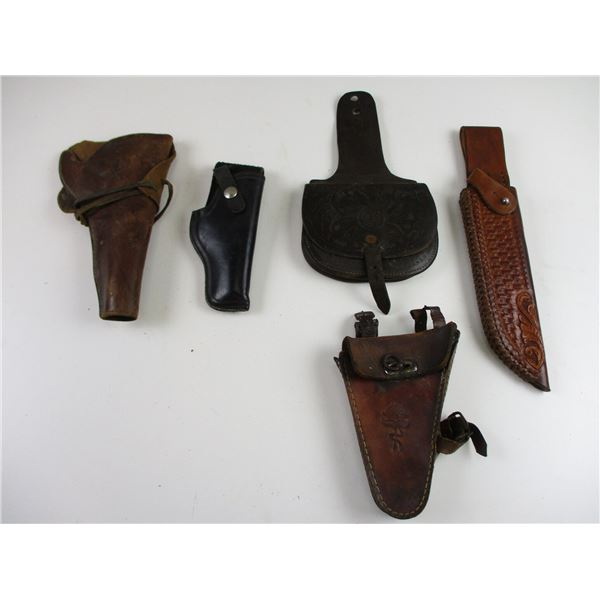 ASSORTED LEATHER HOLSTERS + POUCHES ETC
