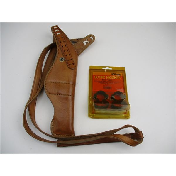 LEATHER REVOLVER STYLE SHOULDER STRAP HOLSTER + SCOPE RINGS