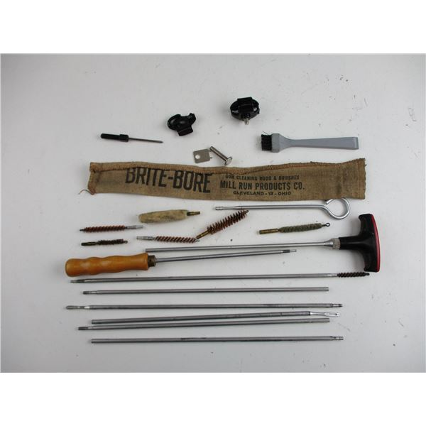 ASSORTED CLEANING RODS + BRUSHES ETC