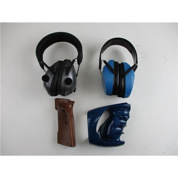 RANGE EAR MUFFS + UNKNOWN TARGET PISTOL GRIPS