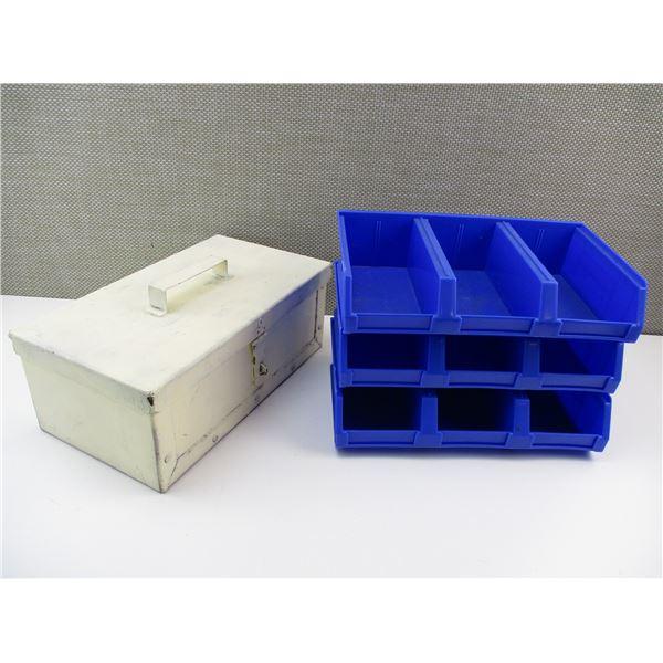 METAL STORAGE BOX + PLASTIC STORAGE BINS