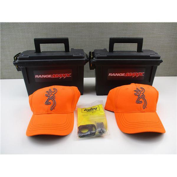 RANGE MAXX AMMO BINS + BROWNING HUNTING HATS ETC