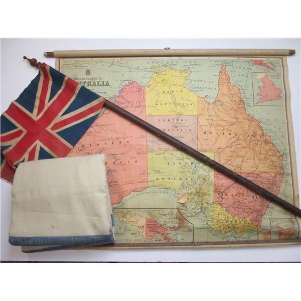 UNION JACK FLAG & POLE + LARGE OLD MAP OF AUSTRALIA ETC