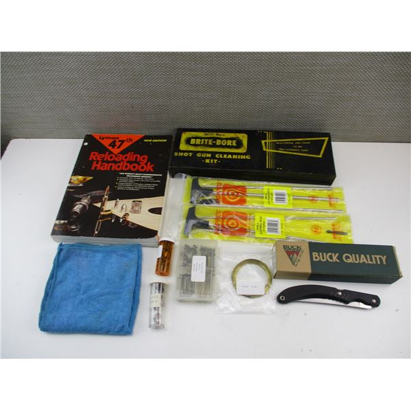 LYMAN RELOADING BOOK + ASSORTED CLEANING ROD KITS & BUCK KNIFE