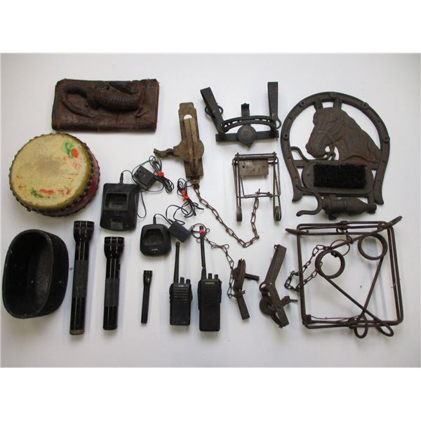 ASSORTED SMALL GAME ANIMAL TRAPS, BOOT CLEANER ETC