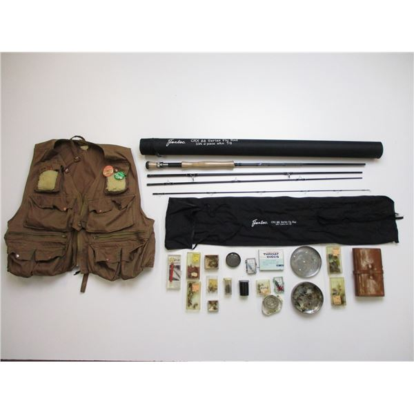 FLY FISHING ROD, VEST & FLY FISHING LEATHER WALLET