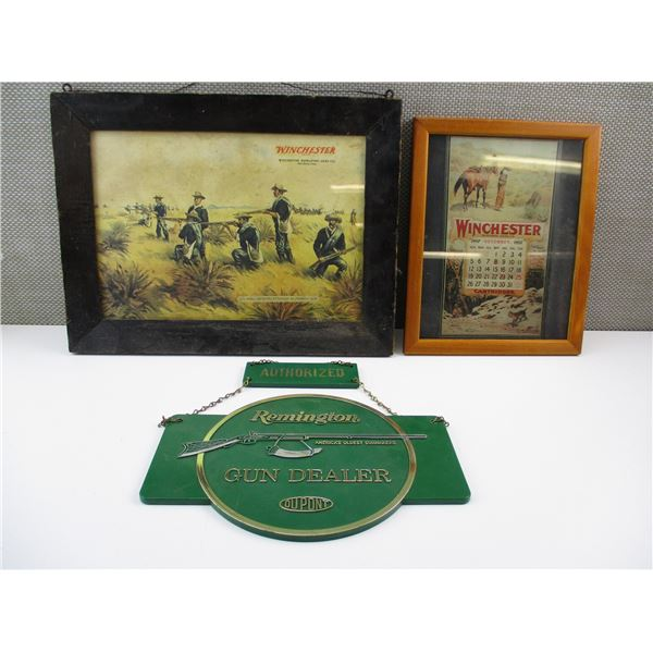 WINCHESTER FRAMED PICTURES + REMINGTON SIGN