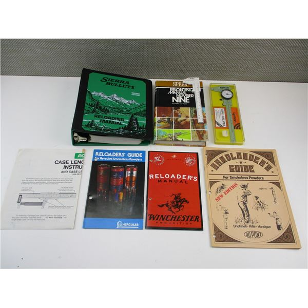 ASSORTED RELOADING BOOKS + CALIPERS