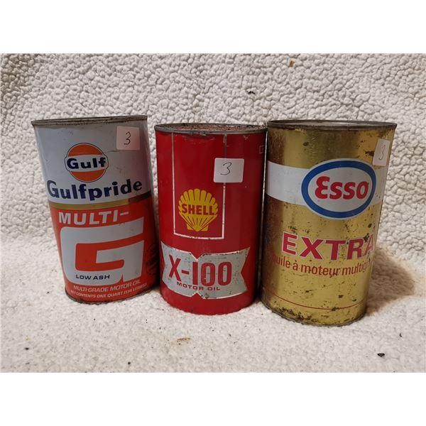 3 oil tins, Shell is full