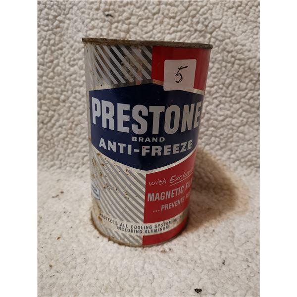 Prestone antifreeze tin can