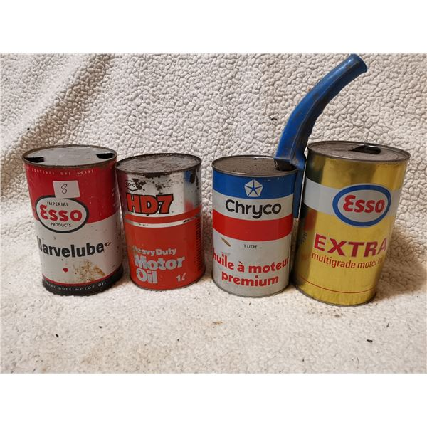 4 oil tin cans