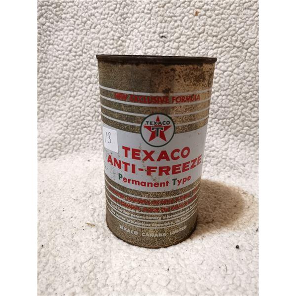 Texaco antifreeze tin can