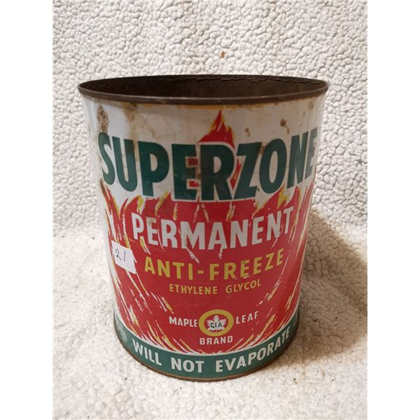 Superzone antifreeze tin cans