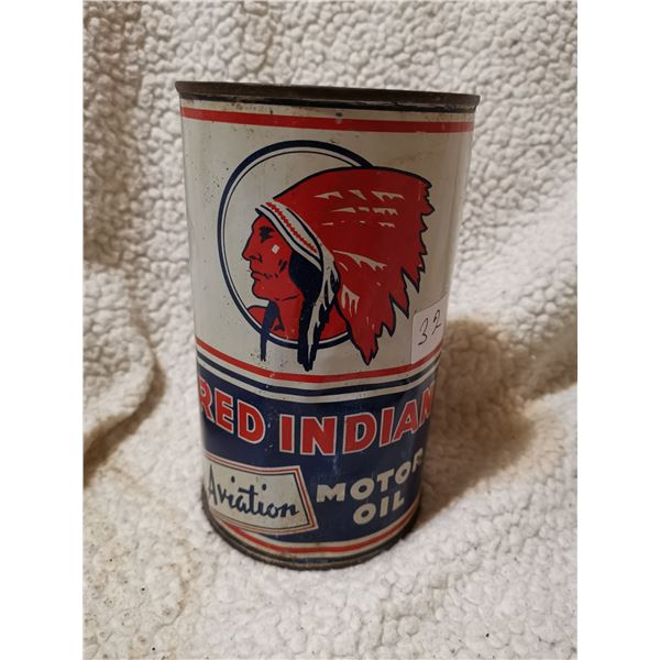 Rare Red Indian Aviation motor oil can