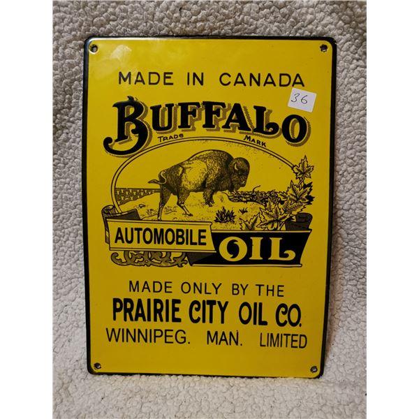 "Porcelain Buffalo Oil fantasy sign 14"" X 10"""
