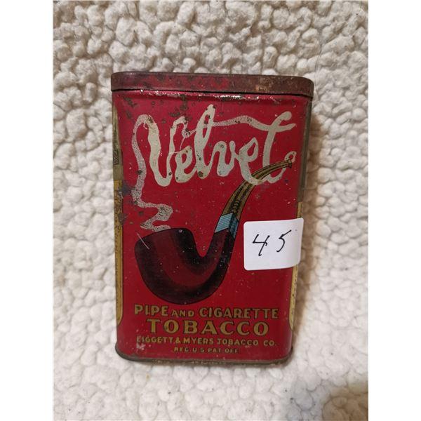 Velvet pocket tin can, tobacco