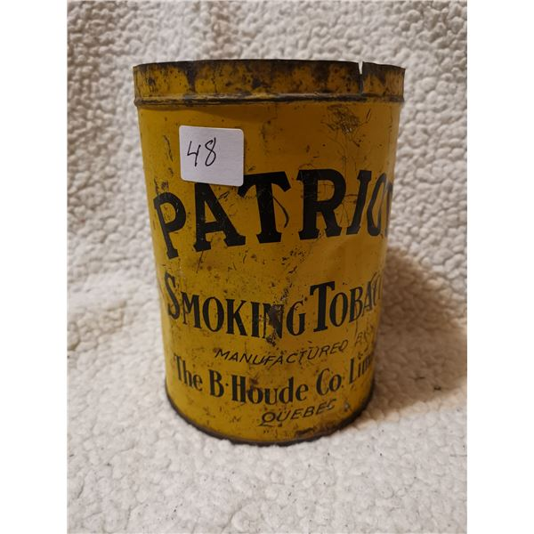 Very old Patriot tobacco can, rare