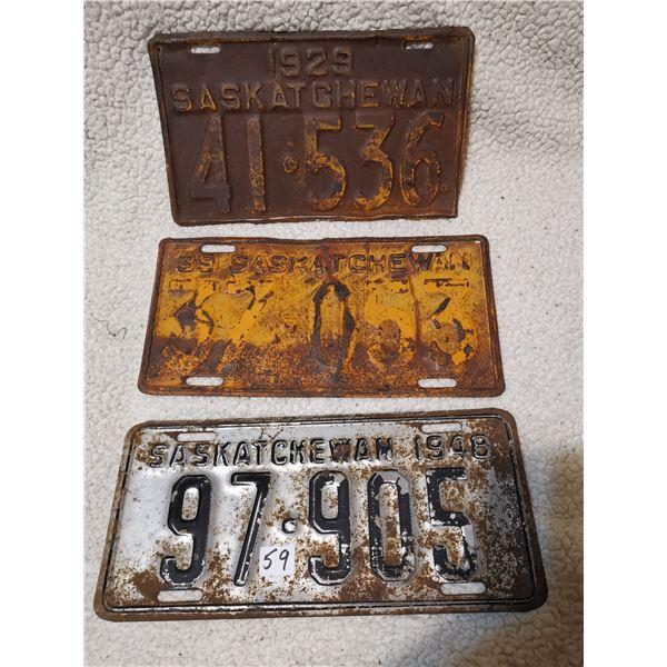 1929, 1939 & 1948 Saskatchewanlicense plates