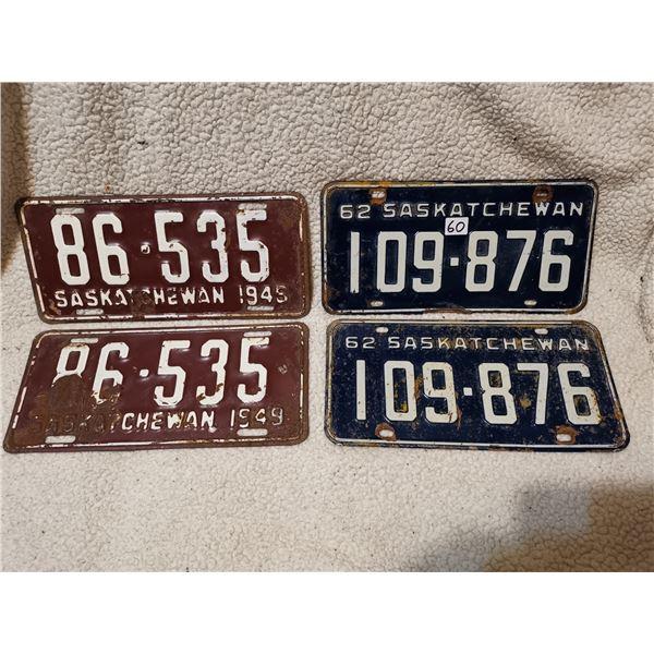 1949 & 1962 matching license plates