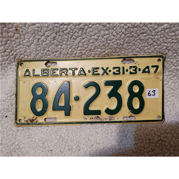 Rare Alberta ex 31/3/1947 License plate