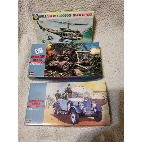3 Model kits including Hitler's car