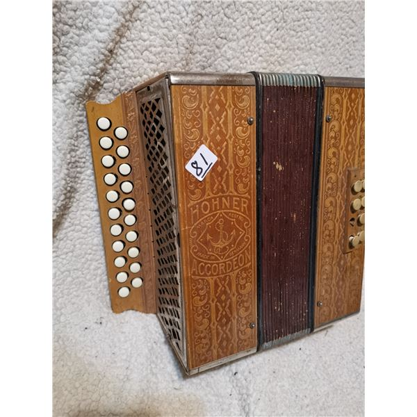 small Hohner Accordian - works, wooden, light