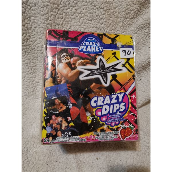WCW sealed box of crazy dips candies from 90's