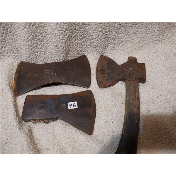3 antique axe heads