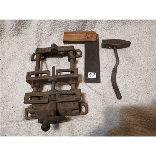 Antique square, hammer, and ?