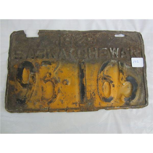 1929 SASKATCHEWAN license plate