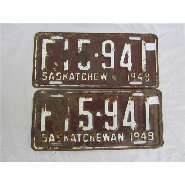 PAIR OF 1949 SASKATCHEWAN license plateS