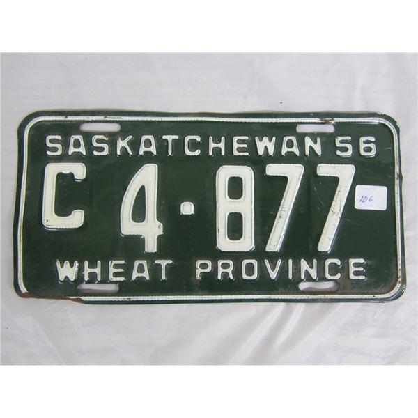 1956 SASKATCHEWAN license plate