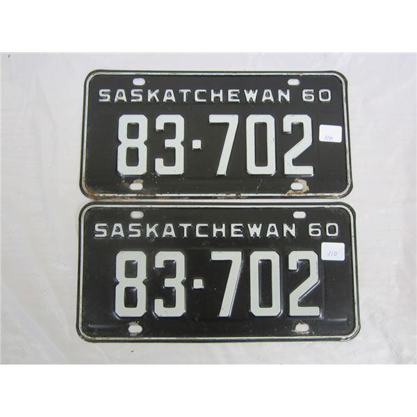 PAIR OF 1960 SASKATCHEWAN license plateS