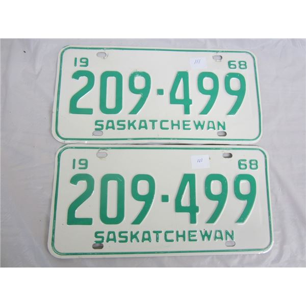 PAIR OF 1968 SASKATCHEWAN license plateS