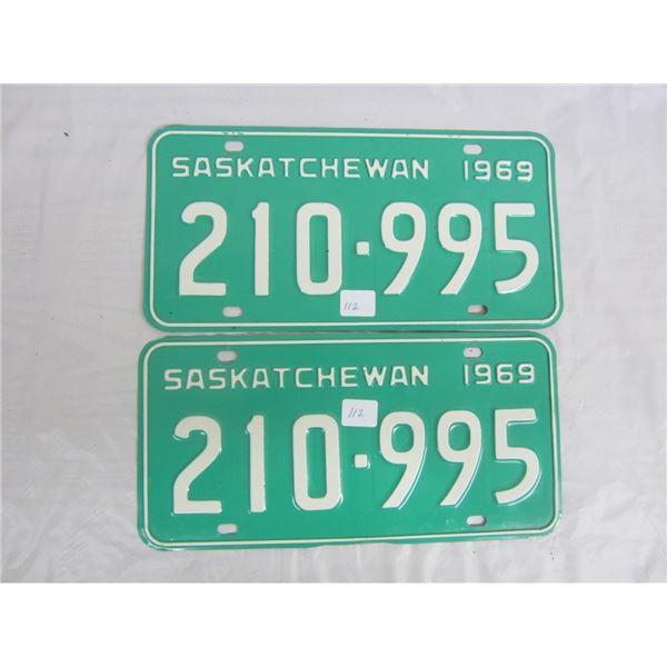 PAIR OF 1969 SASKATCHEWAN license plateS