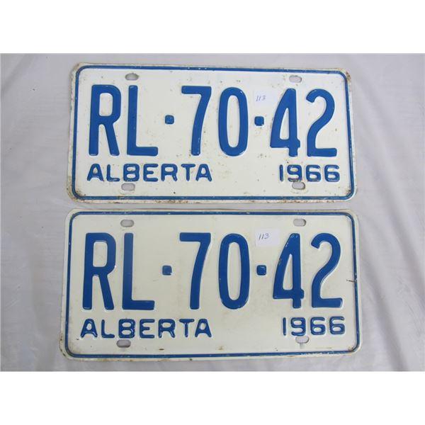 PAIR OF 1966 ALBERTA license plateS