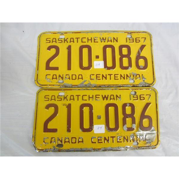 PAIR OF 1967 SASKATCHEWAN license plateS