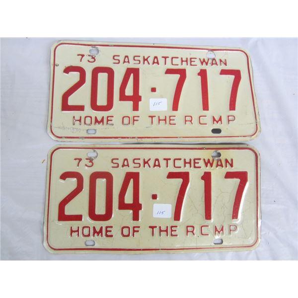 PAIR OF 1973 SASKATCHEWAN license plateS
