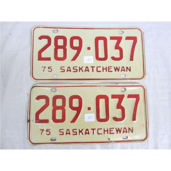 PAIR OF 1975 SASKATCHEWAN license plateS