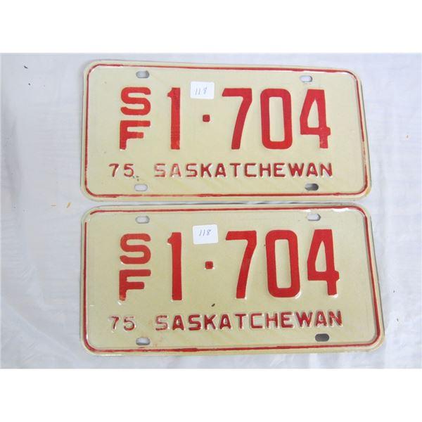 PAIR OF 1975 S/F SASKATCHEWAN license plateS