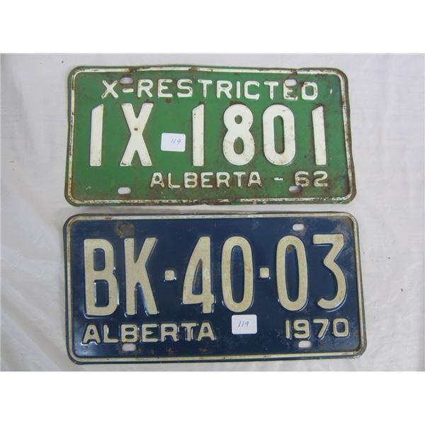 2 ALBERTA license plateS 1962 AND 1970