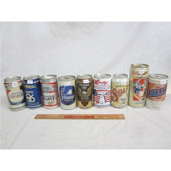 NINE DECORATIVE BEER CANS FULL
