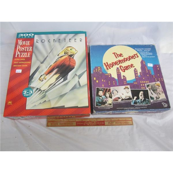 ROCKETEER PUZZLE SEALED AND A HONEYMOONERS BOARD GAME /