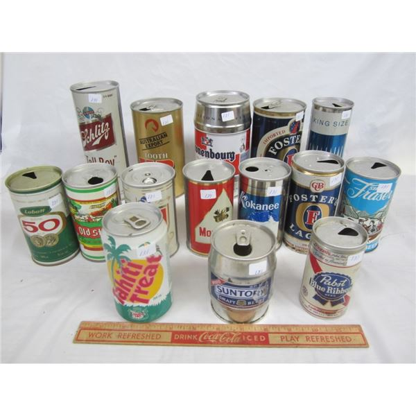 14 DECORATIVE EMPTY BEER CANS